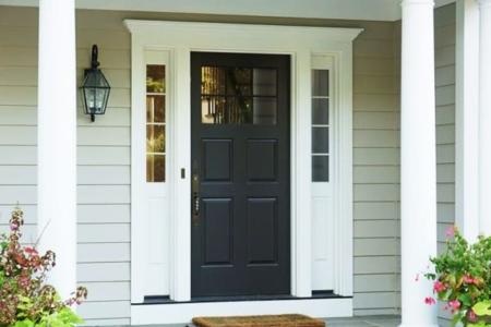 Steel Fiberglass Vinyl Entry Doors Glass sidelights pilaster aluminum clad wood