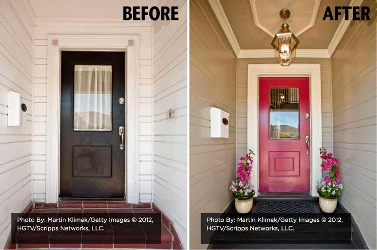 Front door before/after